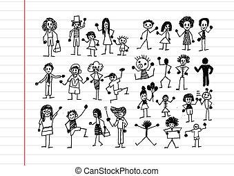 Menschen-Aktivitäten Symbole in Illustration.