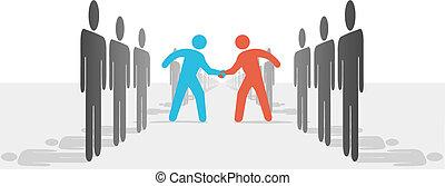 Menschen auf zwei Seiten sind sich einig, dass sie sich die Hand geben