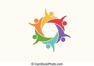 Menschen-Community-Logo. Vector Illustration