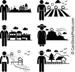 Menschen, die an verschiedenen Orten leben.