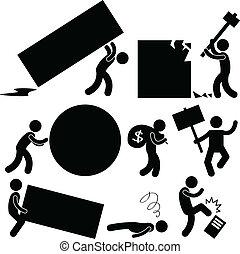 Menschen, die Arbeit leisten, belasten Wut