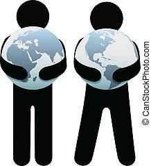 Menschen, die die Erde umarmen