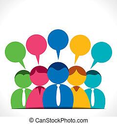 Menschen diskutieren oder kommunizieren.