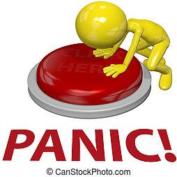 Menschen drücken Knopf PANIC-Problemkonzept