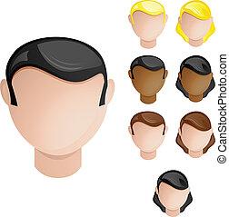 Menschen führen Mann und Frau. Vier Haare und Hautfarben