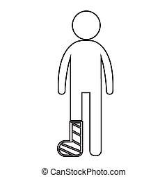 Menschen gebrochen Arm und Bein Icon Illustration Design.