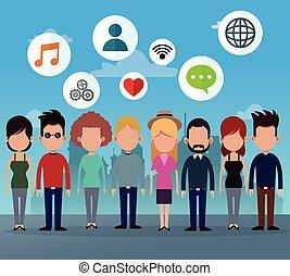 Menschen gruppieren soziale Netzwerk Medien Icons.
