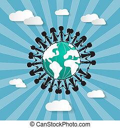 Menschen halten Händchen um den Globus.