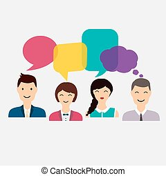 Menschen-Icons mit bunten Dialog-Rede. Soziales Netzwerk und soziale Medienkonzept. Business Flat Vektorgrafik.
