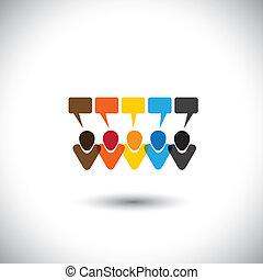 Menschen Konversation Icons oder Online Kommentare & Chats - Konzeptvektor. Diese Grafik repräsentiert auch soziale Medienkommunikation, Internet oder Web-Chat, soziale Vernetzung & Interaktion, Online-Community