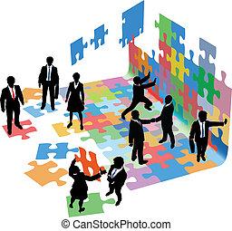 Menschen lösen Probleme beim Bau von Unternehmensgründungen