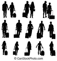 Menschen mit Reisetaschen-Silhouette