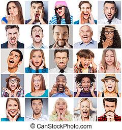 Menschen mit unterschiedlichen Emotionen. Eine Vielzahl von unterschiedlichen, multiethnischen und gemischten Altersgruppen, die unterschiedliche Emotionen ausdrücken
