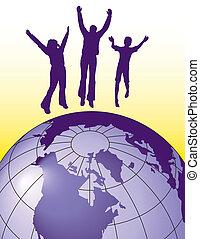 Menschen springen vor Freude