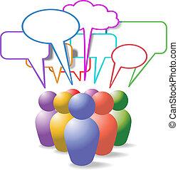 Menschen symbolisieren soziale Medien-Sprache