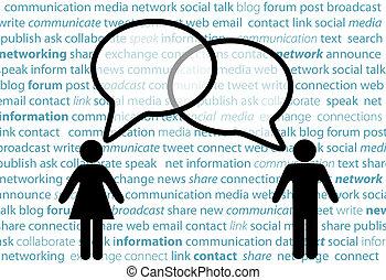 Menschen symbolisieren soziale Netzwerke, die Blasen sprechen