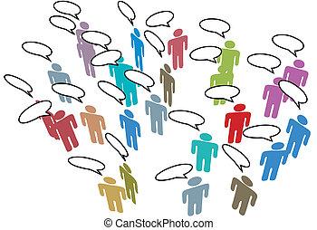 Menschen treffen sich mit einer bunten Rede im sozialen Netzwerk