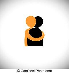 Menschen umarmen sich, Freunde umarmen sich - Vektorgrafik.