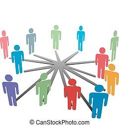 Menschen verbinden sich mit sozialen Netzwerken oder Unternehmen