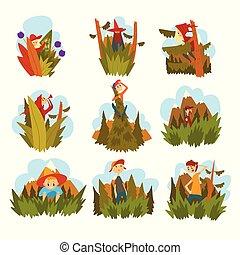 Menschen vor dem Hintergrund der Natur Set, Kinder und Erwachsene wandern in den Wald Cartoon Vektor.