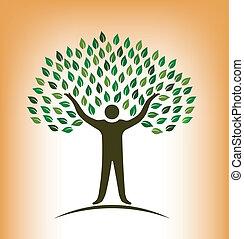 Menschenbaum-Vektor-Logo.