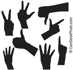 Menschenhandsammlung, verschiedene Hände, Gesten, Signale und Zeichen. Vektor-Icon-Set