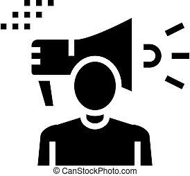 menschliche , abbildung, vektor, ikone, lautsprecher, glyph