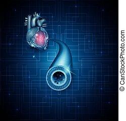 Menschliche Arterie und herz abstrakter blauer Hintergrund.