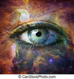 Menschliche Augen schauen ins Universum - Elemente dieses Bildes, eingerichtet von der NASA