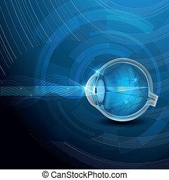 Menschliche Augenvision, abstrakte blaue Illustration.