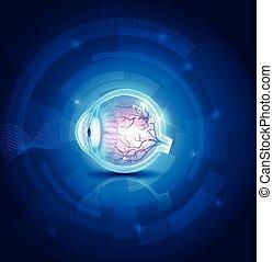 Menschliche Augenvision, abstrakte blaue Technologie.