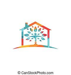 menschliche , daheim, logo, design., sorgfalt, zeichen, blätter, logo., haus, natürlich