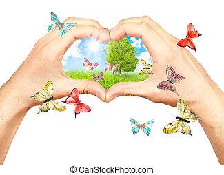 Menschliche Hände und Naturdetails