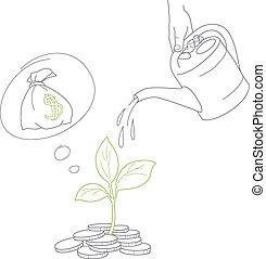 Menschliche Hand, die Geldmünzen mit Dosen tränen.