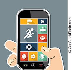 Menschliche Hand, farbenfroher Sport UI Apps flache Ikonen.