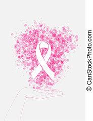 Menschliche Hand hält Bandzeichen mit Blasen, Brustkrebsbewusstsein und Präventionskampagne. EPS10 Vektordatei organisiert in Schichten für leichte Schnitte.