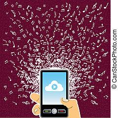 Menschliche Hand, Smartphone-Musiknoten spritzen