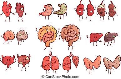 Menschliche innere Organe gesunde vs ungesunde Reihe von medizinischen anatomischen lustig skizzierten Comic-Paar-Organismen Teile im Vergleich glücklich gegen krank und beschädigt