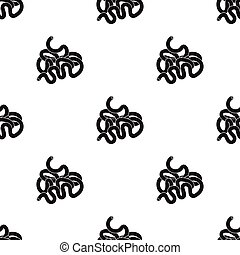Menschliche kleine Darm-Ikone im schwarzen Stil isoliert auf weißem Hintergrund. Die menschlichen Organe zeigen die Vektorgrafik.