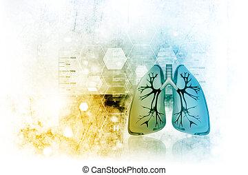 Menschliche Lungen im wissenschaftlichen Hintergrund.