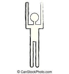 menschliche , silhouette, auf, figur, hände