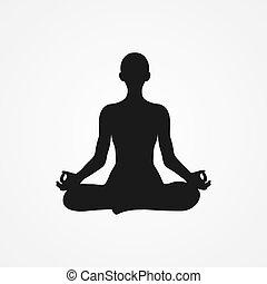 menschliche , sitzen, silhouette, schneidersitz