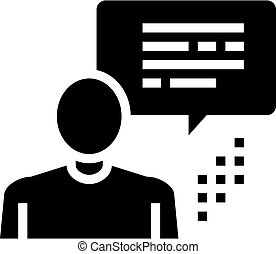 menschliche , sprechende , abbildung, vektor, ikone, glyph