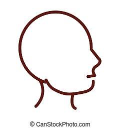 menschliche , stil, kopf, organ, profil, linie, ikone, koerper, gesundheit, koerperbau