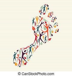 Menschliche Vielfalt ist ein Fußabdruck