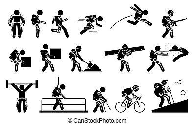 menschliche , zukunftsidee, koerper, icons., tragen, macht, piktogramm, bionisch, stock, chitinpanzer, figur