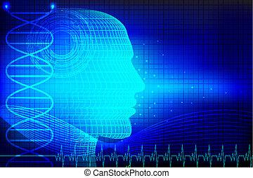 Menschlicher Kopf im medizinischen Hintergrund.