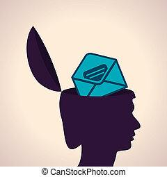 Menschlicher Kopf mit Umschlagsymbol
