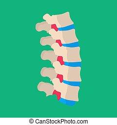Menschlicher Wirbel lumbar Rückenschmerzen Krankheit Patienten Vektor Icon. Skeletal kranke Wirbelsäule Knochenspaltenscheibe medizinisch