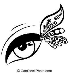 Menschliches Auge mit gemusterten Schmetterlingsflügel.